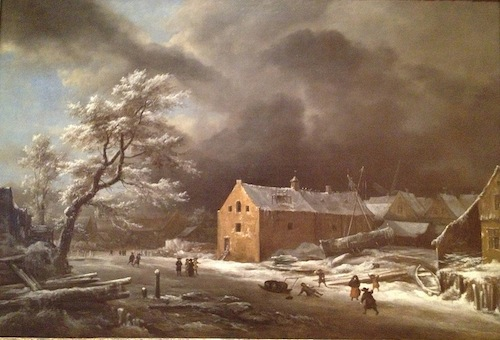 Jacob Van Rusdael - Canal with commercial buildings in winter, 1670